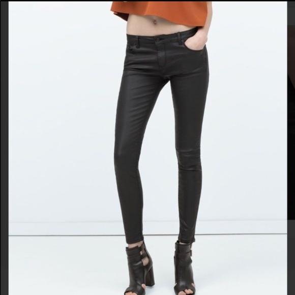 37a7c496 Zara Woman Coated Pants Size 6 Skinny Stretch Wax